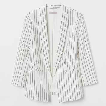 Straight-cut Jacket - Natural white/striped - Ladies | H&M US