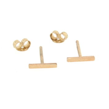 14K Solid Gold Tiny Bar Earrings, Small Line Studs, Stud Earrings, Bar Ear Studs, Staples - One Pair