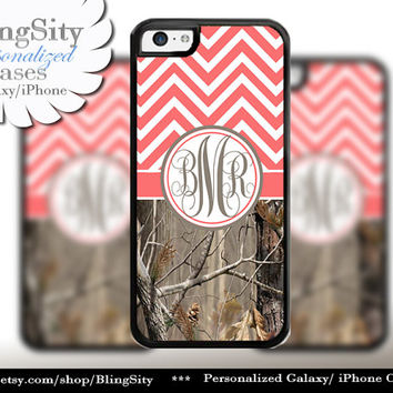 Coral Chevron Monogram iPhone 5C 6 Case Peach Plus iPhone 5s 4 Ipod 4 5 Touch case Real Tree Camo Zig Zag Personalized Country Girl