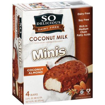 So Delicious Dairy Free Minis Coconut Milk Coconut Almond Bars Non-Dairy Frozen Dessert, 2.3 fl oz, 4 ct - Walmart.com