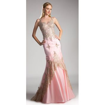 Blush Embroidered Long Mermaid Prom Dress Lace Up Back