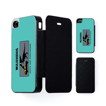Warning Idiots Are Everywhere Black Flip Case for Apple iPhone 4 / 4s by Chargrilled