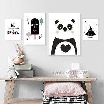 Cartoon Wild Brave Panda Nordic Poster Cute Cuadros Decoracion Wall Art Canvas Painting Nordic Style Kids Decoration Unframed