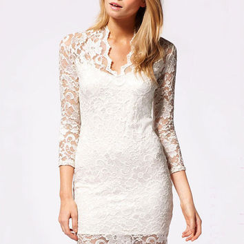 Sheer Sleeve Floral Net Lace Mini Dress