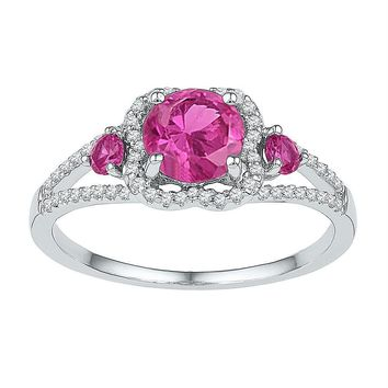 Sterling Silver Women's Round Lab-Created Pink Sapphire 3-stone Diamond-accent Ring 1-5/8 Cttw - FREE Shipping (US/CAN)
