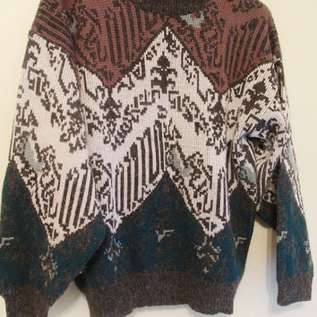 Women's Vintage 70's Mock Neck Chevron Fall Sweater Soft Sz M Cozy Soft