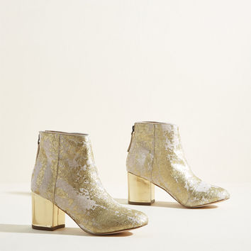 Stand With Glam Block Heel Bootie in Gold