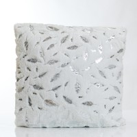 White/Silver Feathers Pillow-Etre Collection