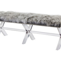 "Tibetan 70"" Fur Bench, Gray, Acrylic / Lucite, Bedroom Bench"