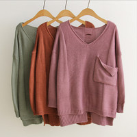 Autumn new long-sleeved loose big yards long and short in front pocket stitching knit pullover