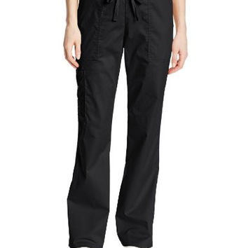 Cherokee Women's Workwear Scrubs Mid-Rise Core Stretch Drawstring Cargo Pant, Black, Large