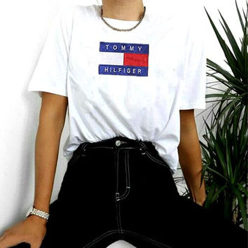 Women Fashion Emboider Tommy Hilfager Monogram Show Thin T-Shirt Top Tee White