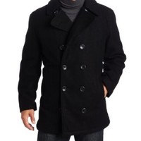 London Fog Men's Admiral Double Breasted Notch Collar Peacoat, Black, Medium