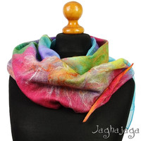 NEW! Colorful nuno felted scarf, beautiful gift for her, for cold day, autumn, full of color, rainbow handmade