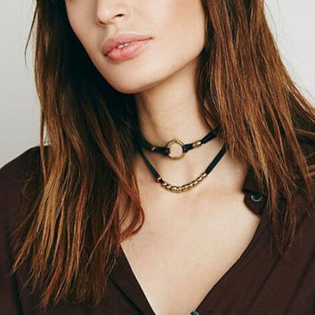 Sexy double layer metal ring choker necklace XRC1676