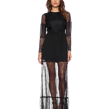 Black Sheer Lace Maxi Dress with Cut-Out Back