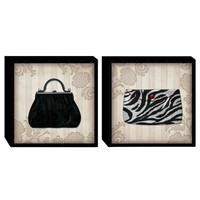 Glamour Purses in B&W Wood Wall Art (Set of 2) (2064) - Illuminada