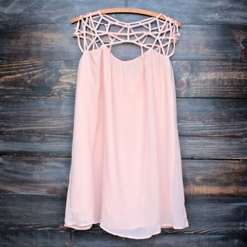 caged up flowy chiffon dress in nude blush