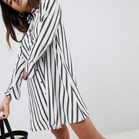 ASOS DESIGN stripe long sleeve shirt dress at asos.com