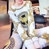 ONETOW Versace' Women Casual Fashion Retro Totem Print Sweater Long Sleeve Trousers Set Two-Piece