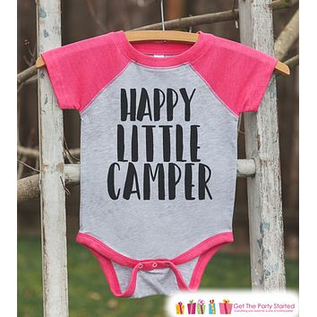 Girl's Happy Little Camper Outfit - Pink Raglan Shirt, Onepiece - Kids Baseball Tee - Camp Shirt Baby, Toddler, Youth - Adventure Clothing