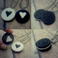 Oreo Cookie Best Friend Necklaces, Cute Jewelry, Charms, couples, friendship