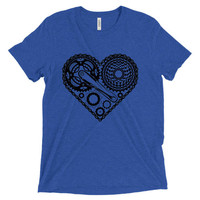 Heart cycling T-shirt unisex fine jersey short sleeve T-shirt direct to garment watercolor print cycling heart tee unisex