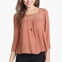 Lush Lace Yoke Top (Juniors) (Online Only) | Nordstrom