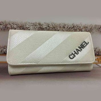 VONE055 CHANEL Women Fashion Clutch Bag Leather Wallet Purse