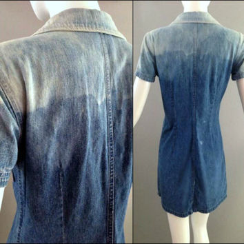90s Vintage Ombre Denim Shirt dress Jean bleach dipped mini upcylced jumper button front jean 4 XS S