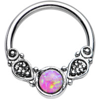 """14 Gauge 1/2"""" Synthetic Pink Opal Tribal Fantasy Captive Ring 