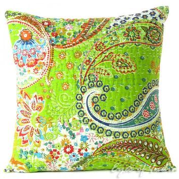 "16"" Green Pillow Cushion Throw Cover with Floral Paisley"