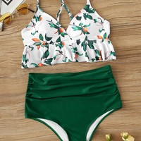 Peplum Top With Ruched High Waist Bikini Set