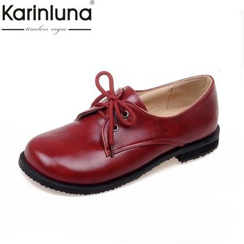 Karinluna Women's Leisure Comfortable Flat Shoes Woman Vintage Lace Up Rubber Sole Chunky Oxfords Big Size 31-43