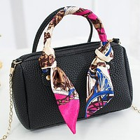 New Fashion Solid Color Leather Shoulder Bag Crossbody Bag Handbag Black