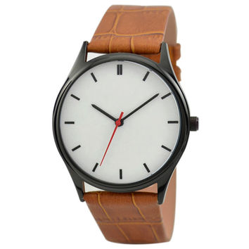 Minimalist  Watch (Black/black) Light Brown Band - Free shipping