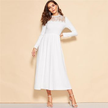 White Lace Insert Zip Back Stand Collar Fit and Flare Mid Waist Maxi Dress Women Long Sleeve A Line Elegant Party Dresses