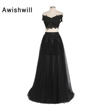 100% Real Picture Tulle A Line V Neck Long Prom Dresses 2017 Back Zipper Appliques Lace Floor Length Black Prom Dress 2 Piece