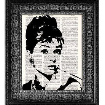 AUDREY HEPBURN Breakfast At Tiffanys Art Print, Poster, Dictionary Book Page Art, CHOOSE Your Color, 8x10