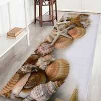 Extra Large Shell Coral Velvet Bathroom Rug