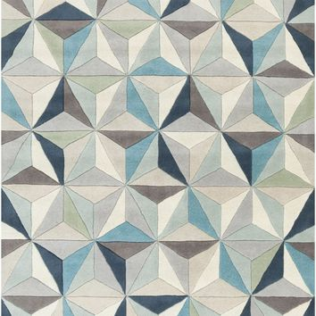 Oasis Geometric Area Rug Gray, Blue