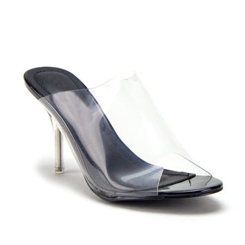 Women's Clear Lucite Slip On Kitty Heels Open Toe Slides Pumps Shoes