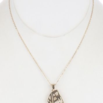 Clear Cutout Metal State Of New York Pendant Necklace