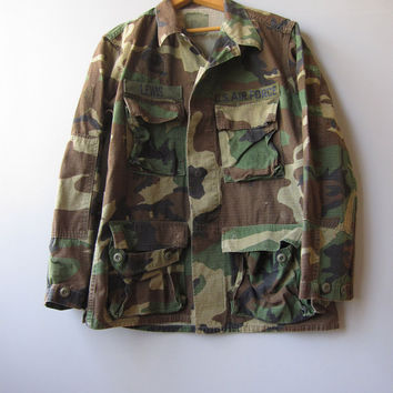 Vtg US Air Force Camo Military Jacket Shirt Woodland Grunge Combat Camouflage Faded Small