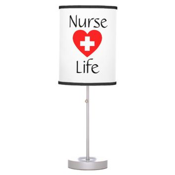 Cute Nurse Life Red Heart Cross Table Lamp