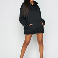 Just Chill Oversized Hoodie Dress Black