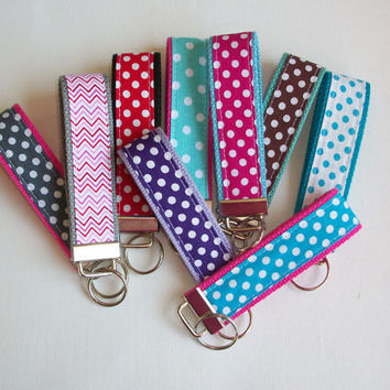 Chevron Key FOB / KeyChain / Wristlet  - Your choice of POLKA DOTS / chevron