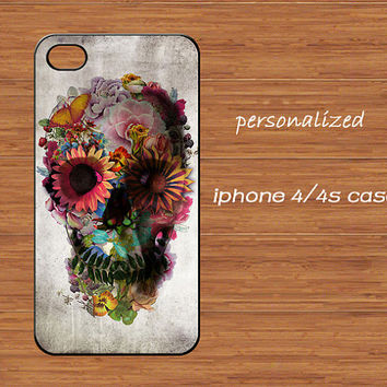 Sugar Skull iPhone 4 Case,Colorful Floral Skull iPhone 4 4g 4s Hard Case,cover skin case for iphone 4/4g/4s case,More styles for you choose