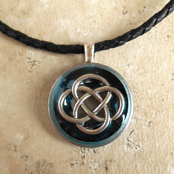 Celtic Knot Necklace: Blue - Mens Jewelry - Mens Necklace - Celtic Jewelry - Boyfriend Gift - Endless Knot - Irish Jewelry - Fathers Day