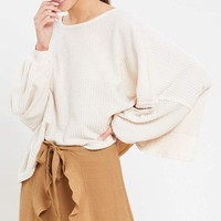 Women's Oversized Thermal Open Back Knit Top